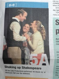 "The Lantern featured a picture from ""All Shook Up"" on their front page"